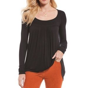 Free People Love Valley Black Long Sleeve Tee Med